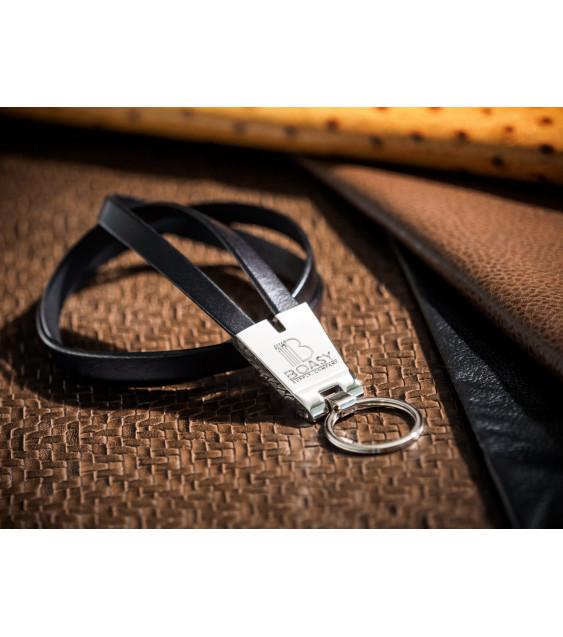 Black Leather ID Lanyards