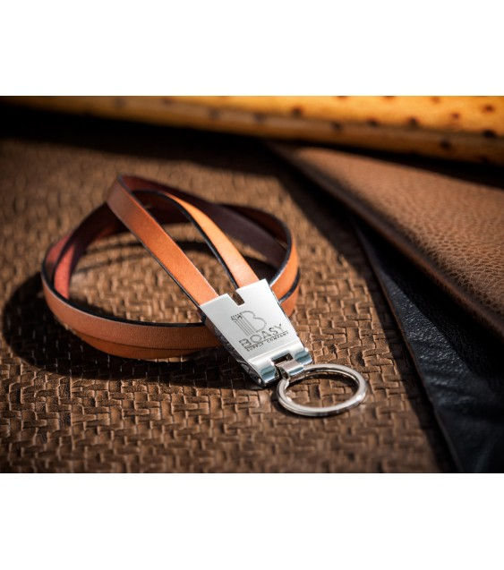 Brown Leather ID Lanyards