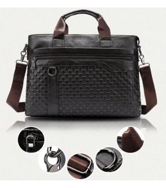 Liam Michael men's genuine leather 14inch laptop briefcase